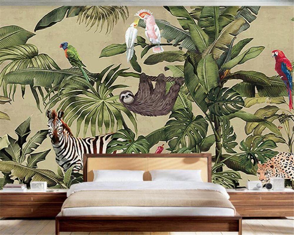 Beibehang Foto muurschildering behang Retro tropische regenwoud ...