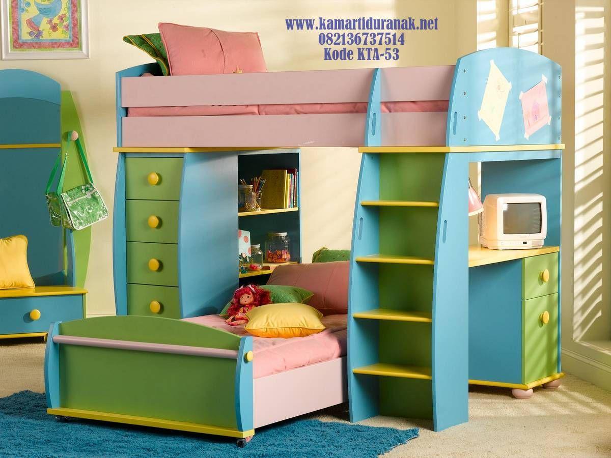 Jual Tempat Tidur Tingkat Anak Sederhana Kombinasi Warna Murah