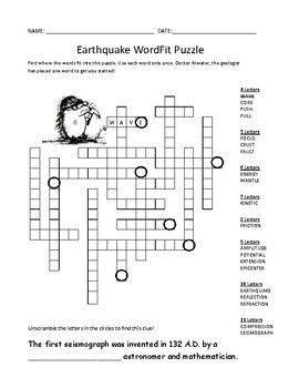 Earthquake Vocabulary Review Wordfit Puzzle Earth Science Earth Science Vocabulary Earth Science Vocabulary