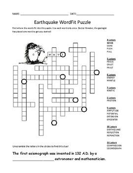 Earthquake Vocabulary Review Wordfit Puzzle Earth Science