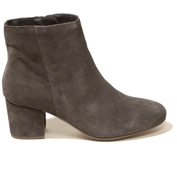 Hollister Steve Madden HOLSTER Bootie (400 RON) ❤ liked on Polyvore featuring shoes, boots, ankle booties, grey, grey suede booties, short boots, suede boots, suede ankle booties and block heel booties