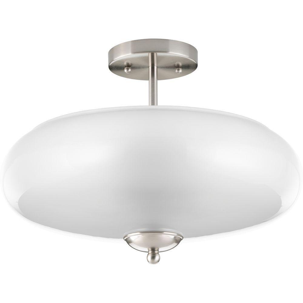 progress lighting merci 3 light brushed nickel semi flush mount