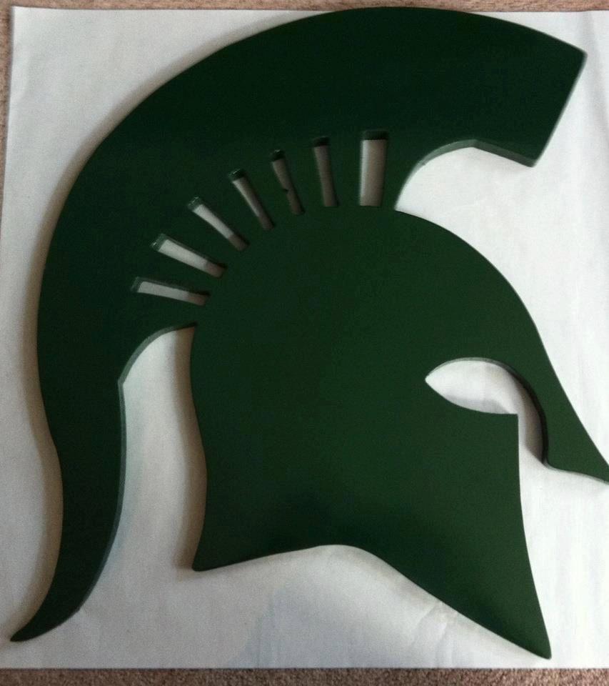 Michigan State Spartan Head wall hanging. 35.00, via Etsy