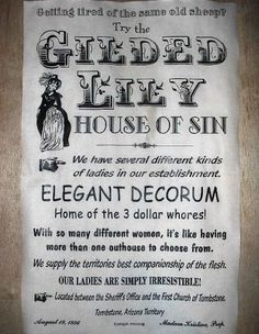 Old West Brothel Tombstone Gilded Lily Whore House Poster 18 X30