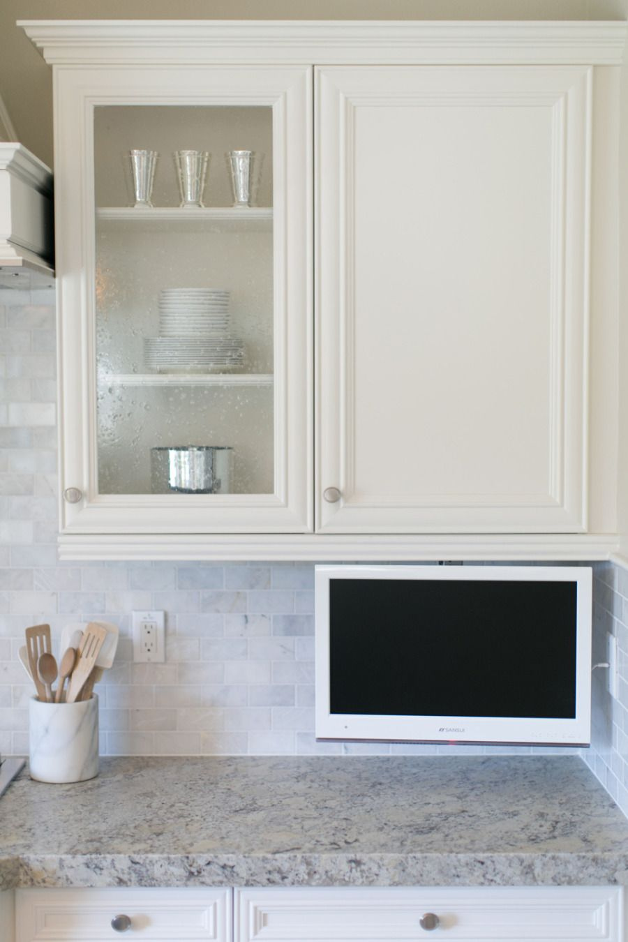 Under counter TV mount | Tv in kitchen, Small kitchen tv ...