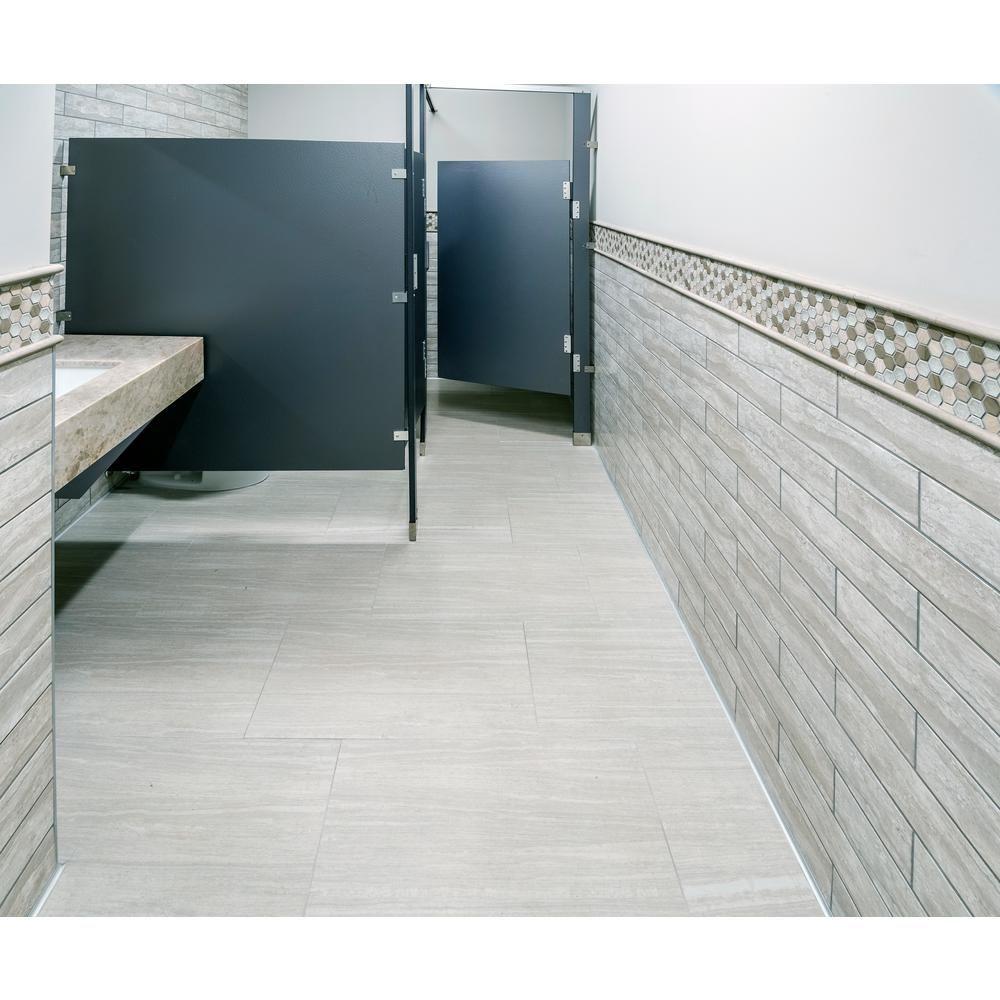 Atrium Kios Gris Glazed Porcelain Floor Tile: MSI Classique Gris Travertine 4 In. X 16 In. Glossy Glazed