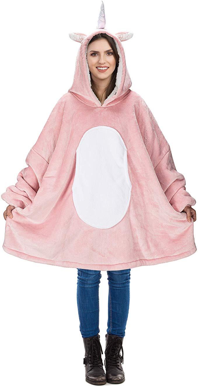 Super Soft Oodie Comfy Hoodie Blanket Sherpa Fleece Warm Cosy Hooded Sweatshirt