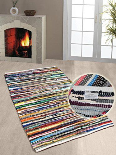 Homescapes 100 Recycled Cotton Chindi Rug Runner 66 X 200 Cm Multi