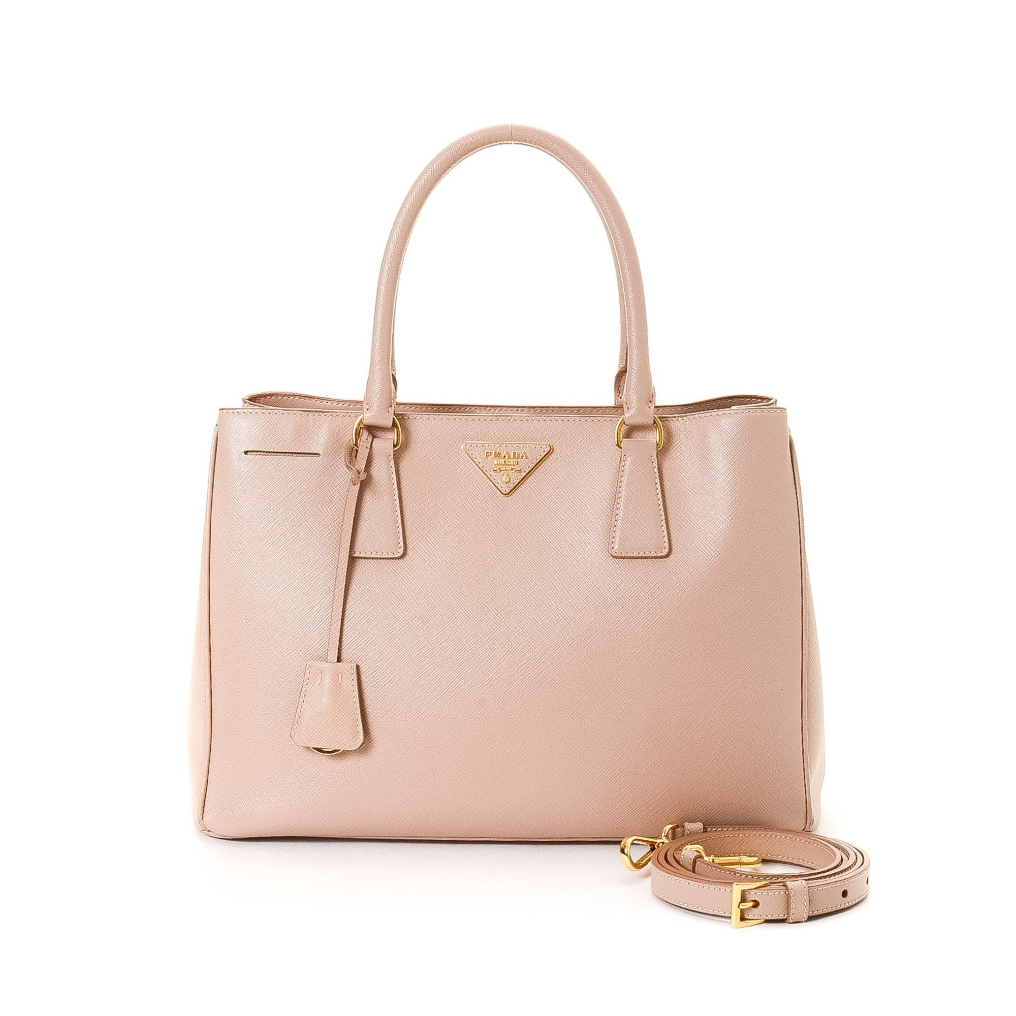Prada Saffiano Lux Two Way Bag Pink Beige Calf Tote  0eb150c675a9e