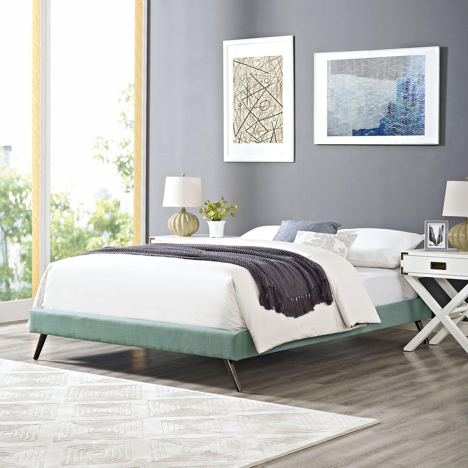 Helen Queen Fabric Bed Frame With Round Splayed Legs Laguna