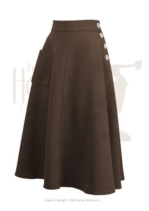 1940s Style Whirlaway Swing Dance Skirt in Cocoa Brown