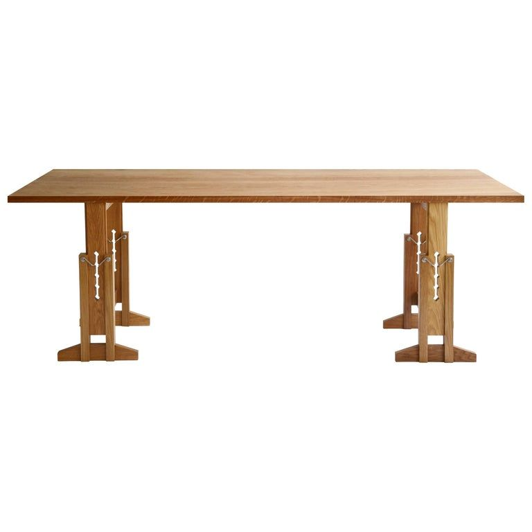 Casey Lurie Studio Contemporary Work Adjustable Height Solid Oak Trestle Table