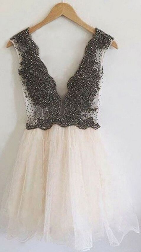 61b8743252e A-Line V-Neck Short Light Champagne Homecoming Dress with Beading ...