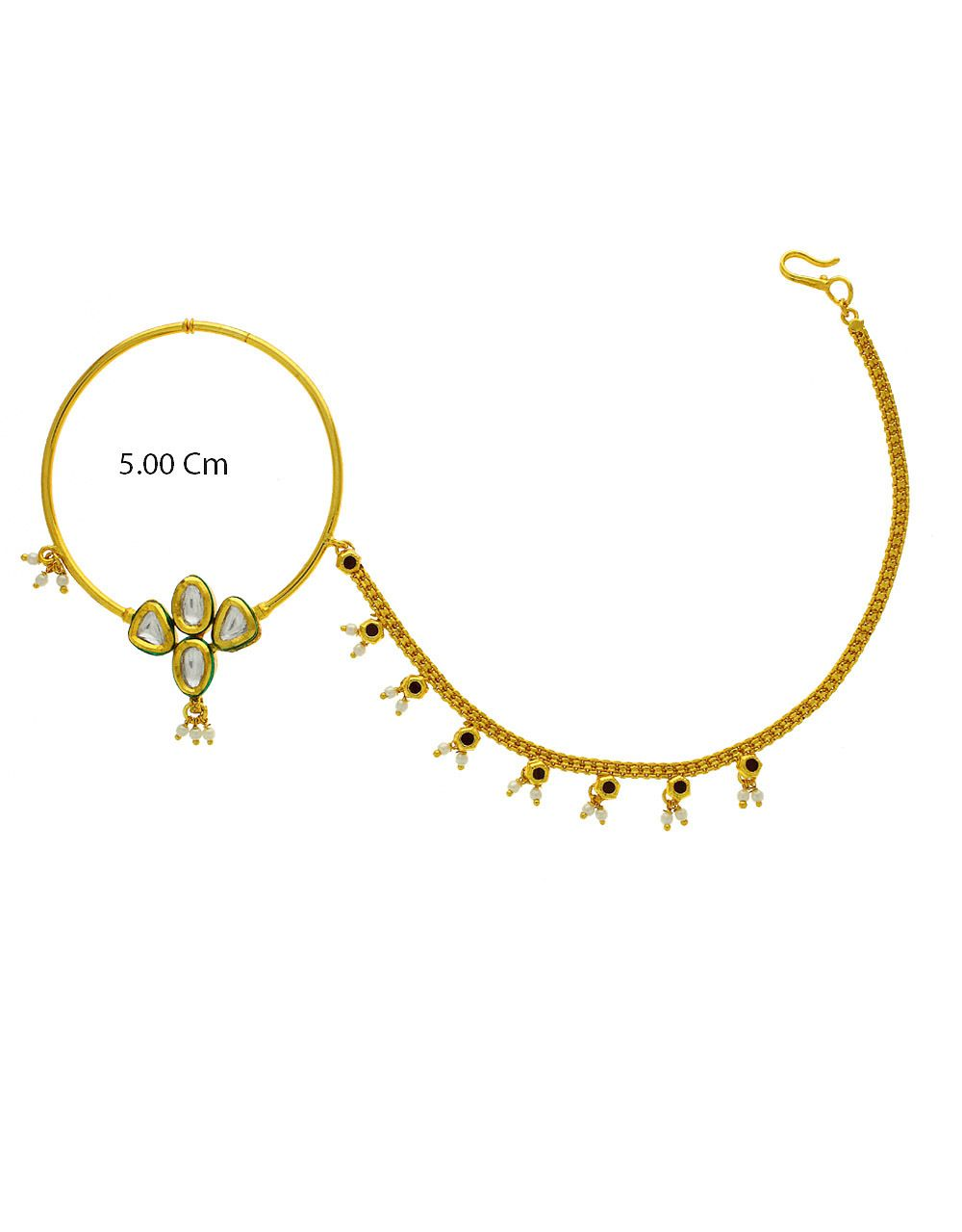 Designer Kundan Studded Bridal Nose Nath For Women Nose Ring