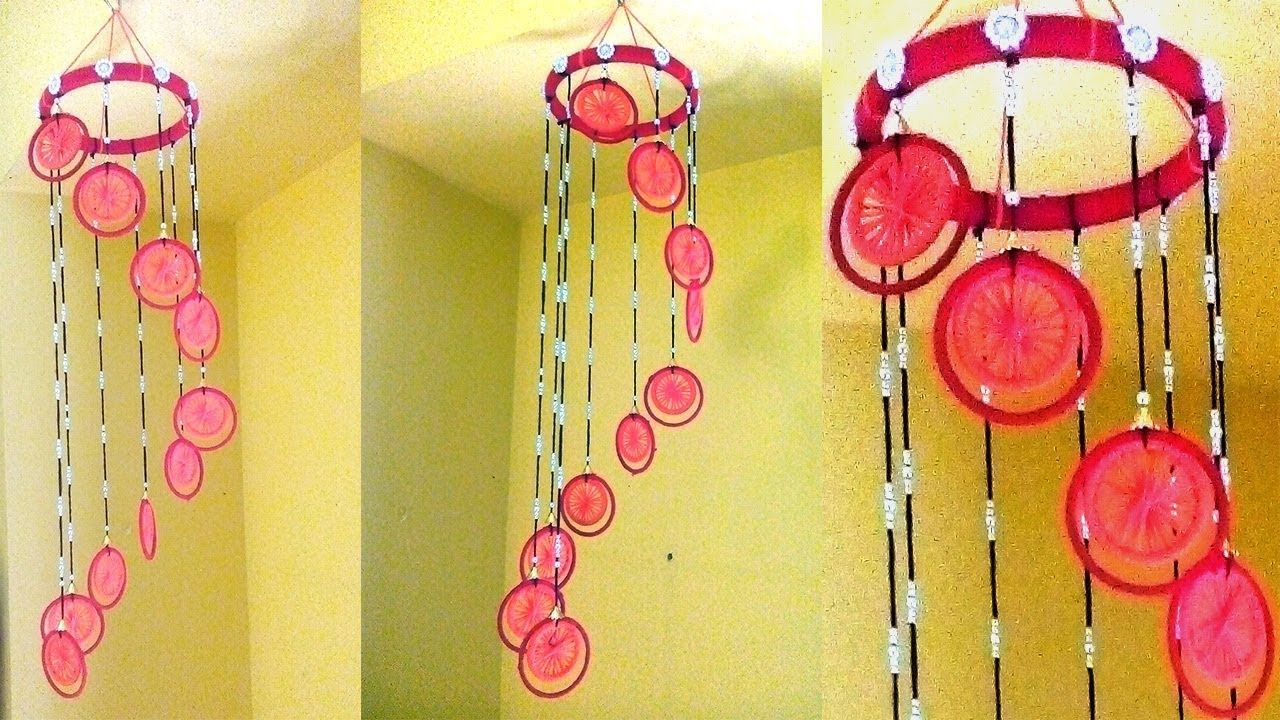 Make Wind Chime with woolen and bangles | wallhanging using woolen ...