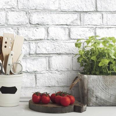 Roommates 28 2 Brick P S Wallpaper White Peelable Wallpaper White Brick Removable Brick Wallpaper