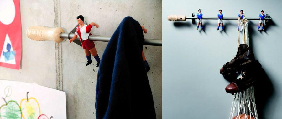 Percheros con jugadores de futbolín #perchero #DIY #deco #habitissimo