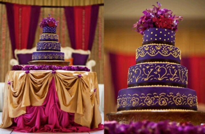 Purple And Gold Wedding Theme Indian Wedding Cakes Royal Purple