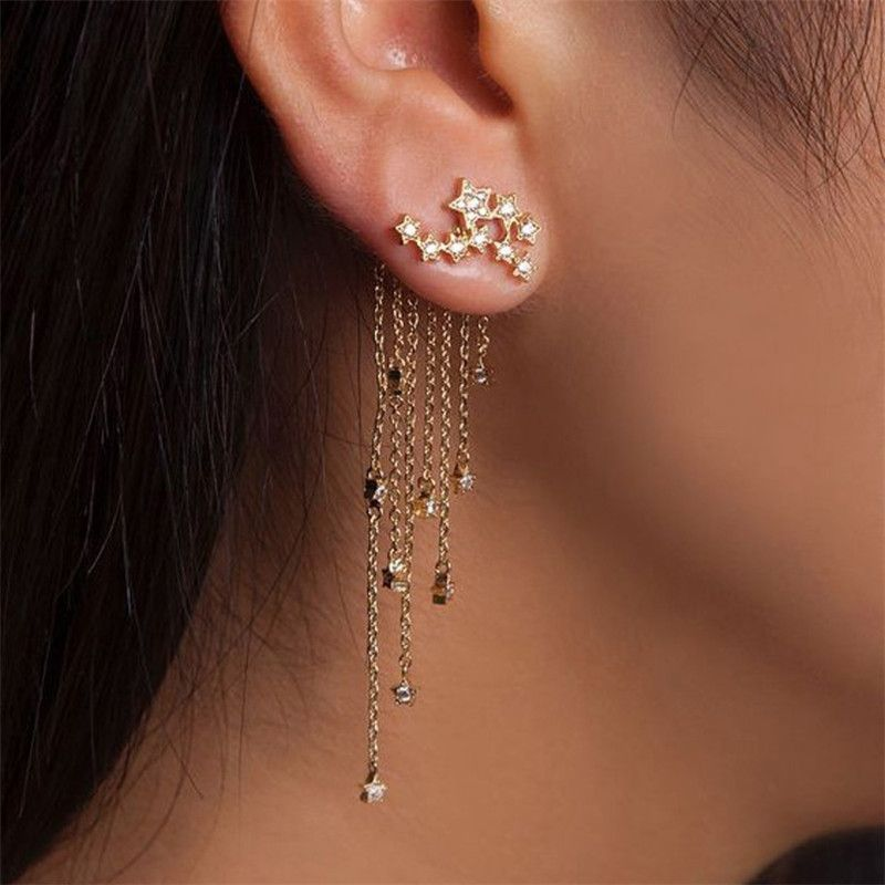 Trendy Pave Long And Short Tassel Earring Star Ear Jacket Accessories Womensfashion Woman Cool Casual Jewelry Trends Cute Jewelry Earings Piercings