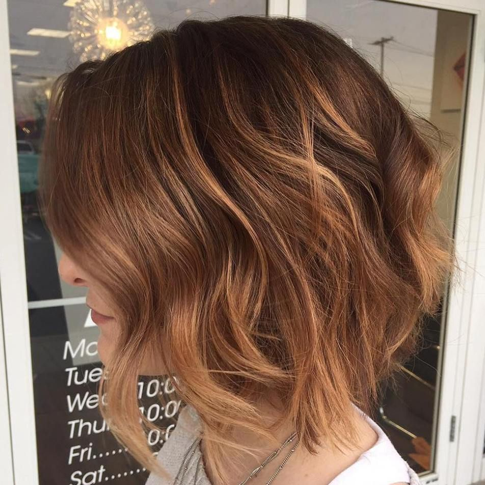 ontrend balayage short hair looks wavy bobs reddish brown and