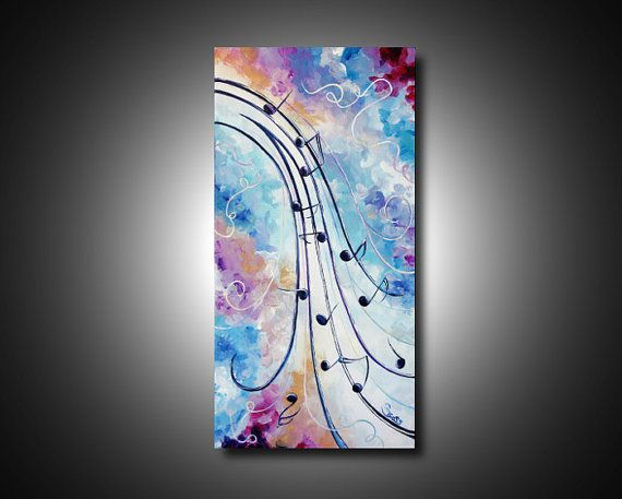 Abstract Music Notes Art: Abstract Art Painting Music Notes Canvas Modern Wall Art