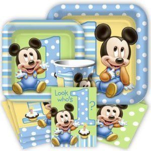 Baby mickey mouse 1st birthday party pack supplies for 16 for 1st birthday party decoration packs