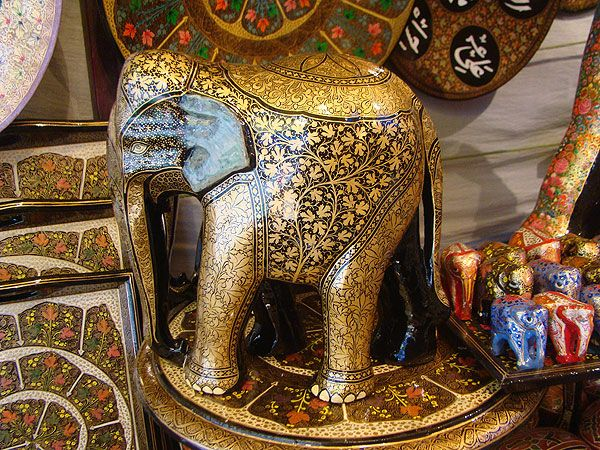 Handicraft Basketry : Decorated hand painted elephant crafts from india
