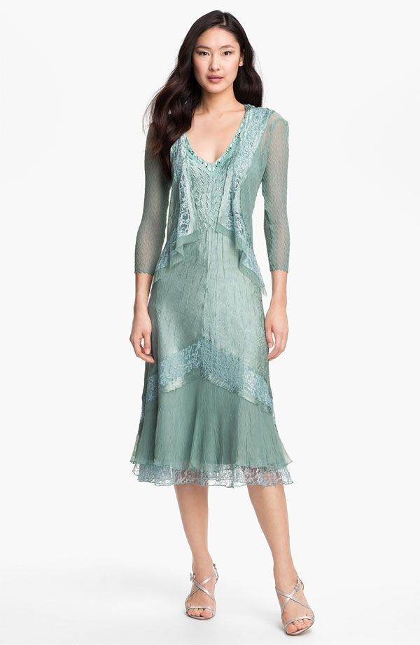 Style Name: Komarov Textured Satin Dress & Jacket (Regular & Petite ...