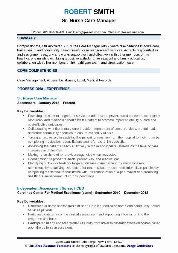 Case Manager Resume Objective Lovely Nurse Care Manager Resume Samples In 2020 Case Management Resume Objective Manager Resume