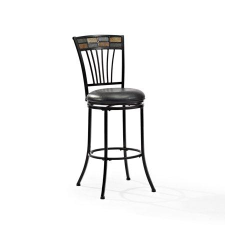 Templeton Swivel Bar Stool In Black Gold With Black Cushion