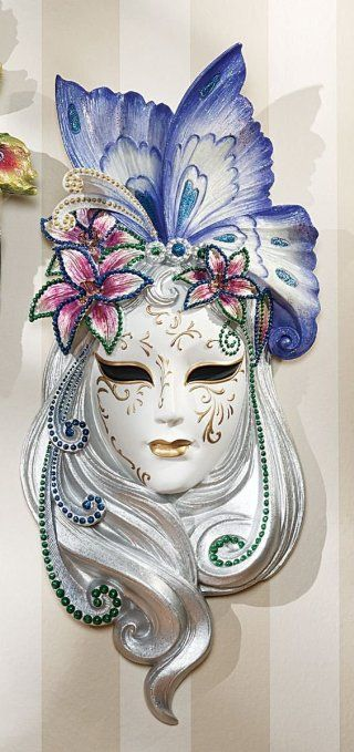 Art Deco Style Lady Erfly Venetian Mask Wall Decor