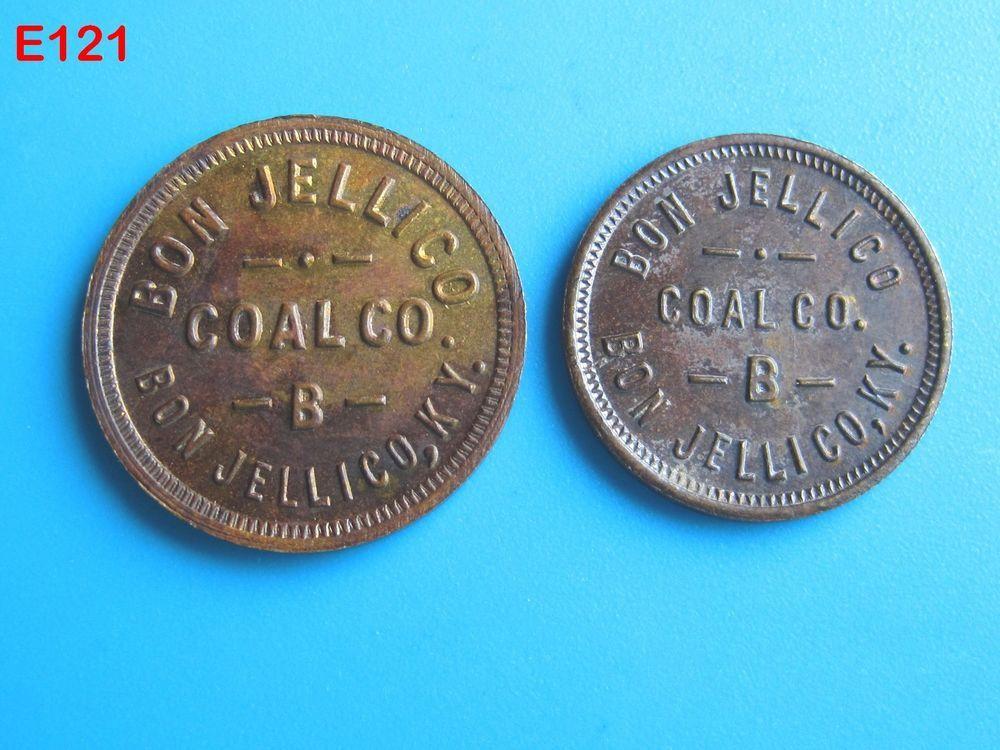 VINTAGE LOT SET COAL SCRIP TRADE TOKEN BON JELLICO COMPANY KENTUCKY OLD COINS