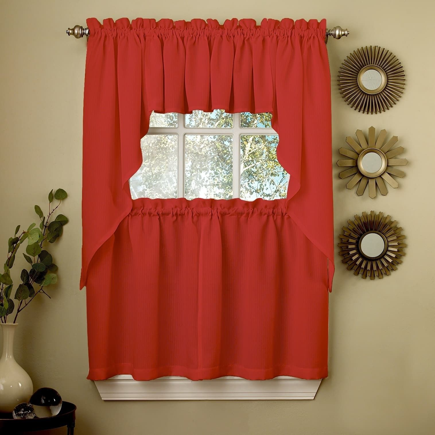 Opaque Red Ribcord Kitchen Curtain Pieces