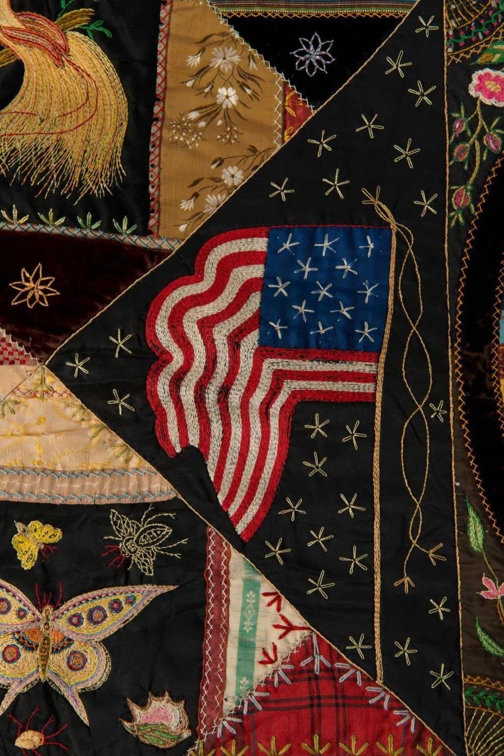 Important folk art patriotic crazy quilt antique crazy quilts