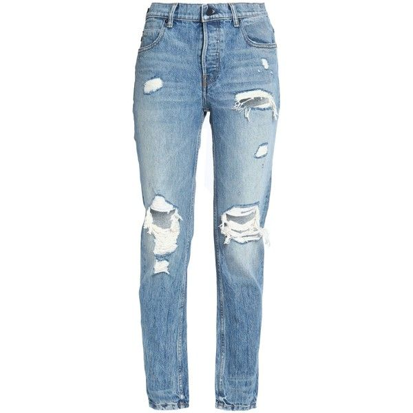 Alexander Wang Distressed boyfriend jeans (€135) ❤ liked on Polyvore  featuring jeans, pants, mid denim, high-waisted boyfriend jeans, light wash  boyfriend ...