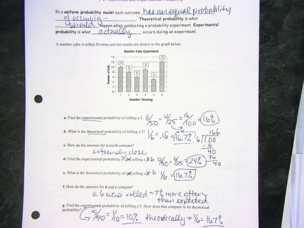Experimental Probability Worksheet Answers