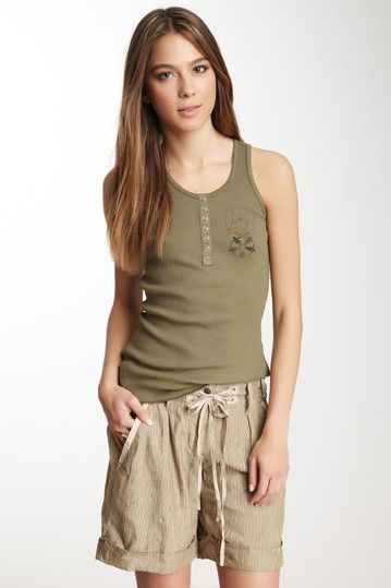 Da-Nang Henley Ribbed Tank by Casual Spring Style on @HauteLook