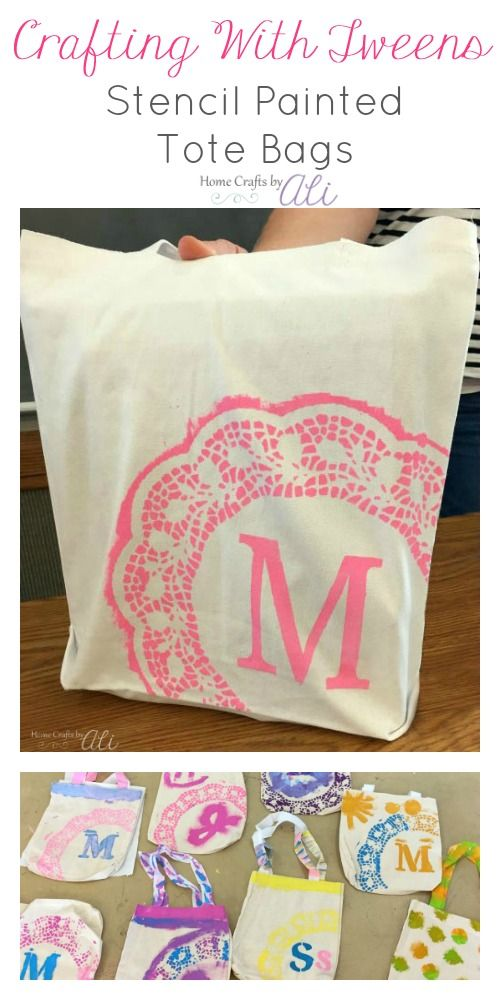 Crafting With Tweens Stencil Painted Tote Bags Easy And Fun Craft