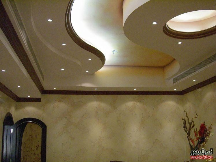 اشكال اسقف جبس بورد غرف وصالات وريسبشن متنوعة قصر الديكور Plafond Design Ceiling Design Living Room False Ceiling Design