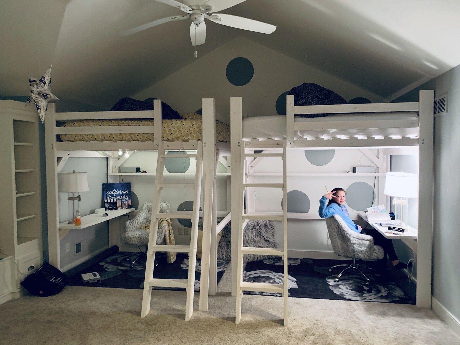 Queen size loft beds with desk and shelf Queen loft beds
