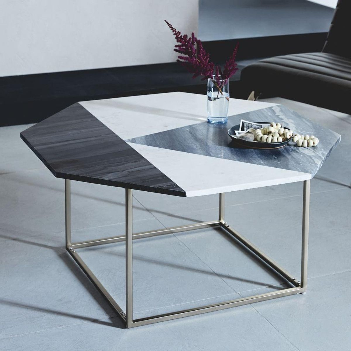 With Its Octagonal Top And Geometric Mix Of Marble Our Marquetry - Colorful judd side table with different variations