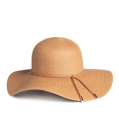 52b120fa Natural. Hat in paper straw with a narrow, faux suede band. Width of ...