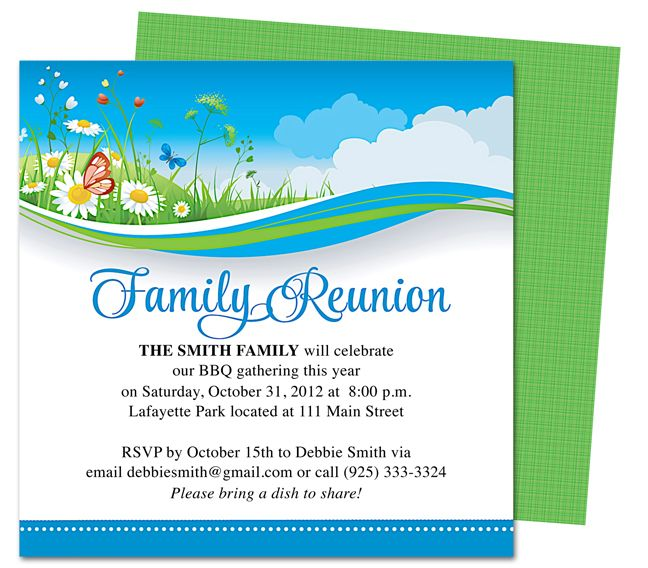 Summer Breeze Family Reunion Party Invitation Templates DIY Printable Template And Easy To Edit