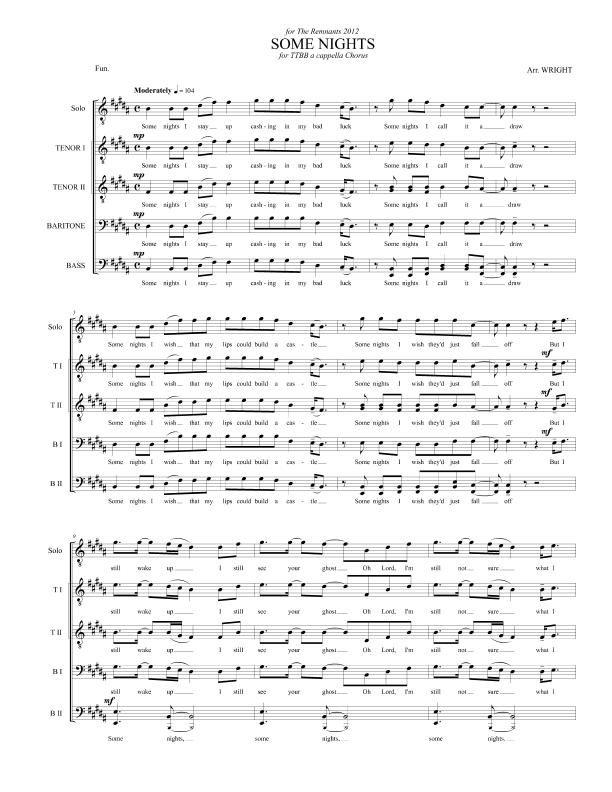 Some Nights by Fun  for TTBB a cappella Chorus | Top 6 TTBB