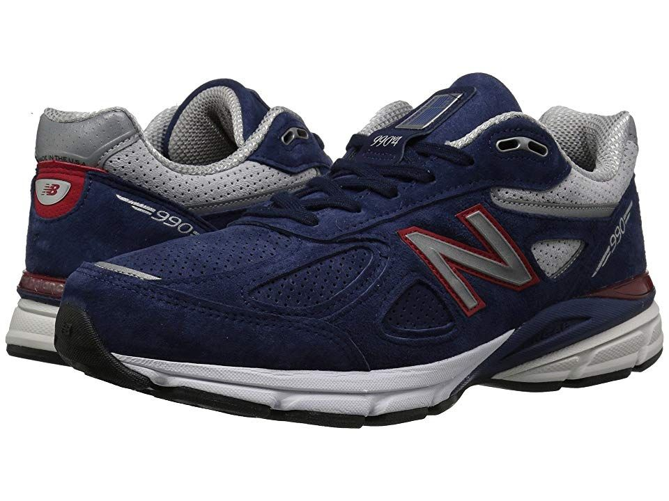 New Balance M990V4 (Blue/Red) Men's Shoes. An ideal blend of cushioning and stability set the foundation for the latest iteration of an American classic. The New Balance M990V4 boasts dynamic performance wrapped in a timeless silhouette to carry you mile after mile in uncompromising comfort. Predecessor: M990V3. Support Type: Overpronation/Stability. Cushioning: High energizing cushioning. Surface: Road. Differential: 12 mm. B #NewBalance #Shoes #Athletic #GeneralAthletic #Blue