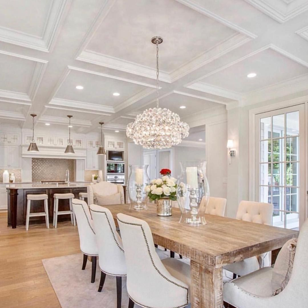 Swipe Left To See This Gorgeous Kitchen By Wooddale Builders Kitchen Crystal Chandelier Dining Room Rustic Dining Table Dining Table Decor Beautiful dining room chandeliers