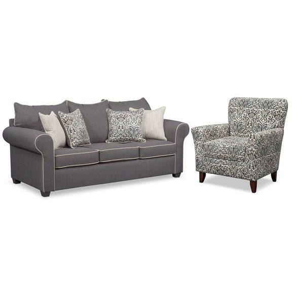 Carla Sofa And Accent Chair Set Gray Value City Furniture