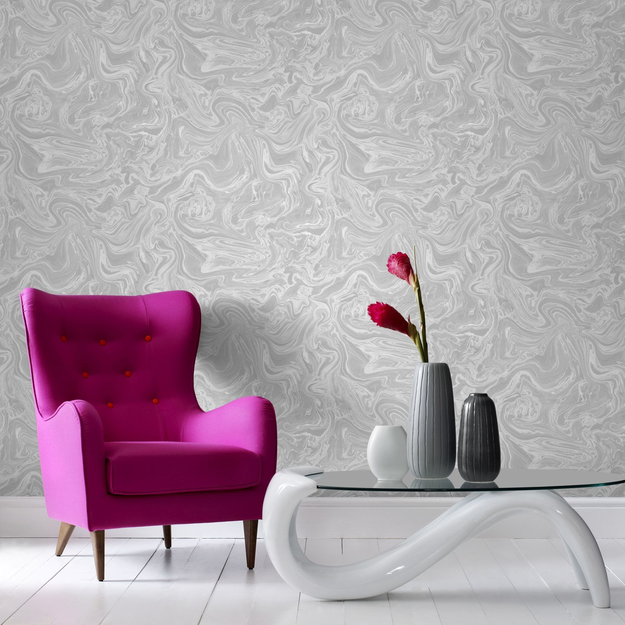 Marbled Wallpaper in Grey and White from the Pure Collection by Graham & Brown