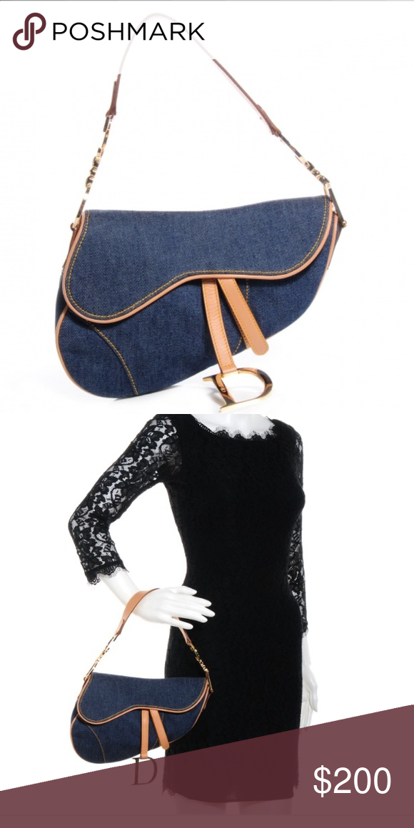 Authentic Christian Dior Denim Saddle Bag Purchased In Consignment Boutique In Palm Beach Island Gorgeous Vintage Denim Saddle Christian Dior Bags Bags Dior