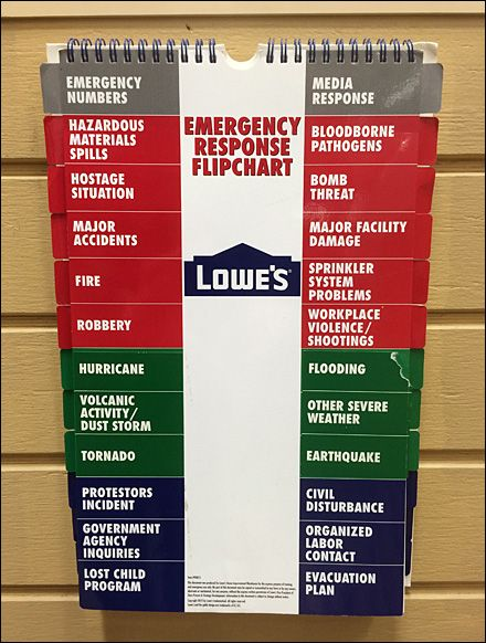 Lowes Emergency Response Flipchart Tabbed And Color Coded